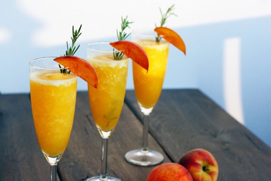 My Life as a Mrs. » Rosemary Infused Frozen Peach Bellini