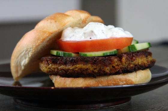Falafel Burgers with Tahini and Tzatziki
