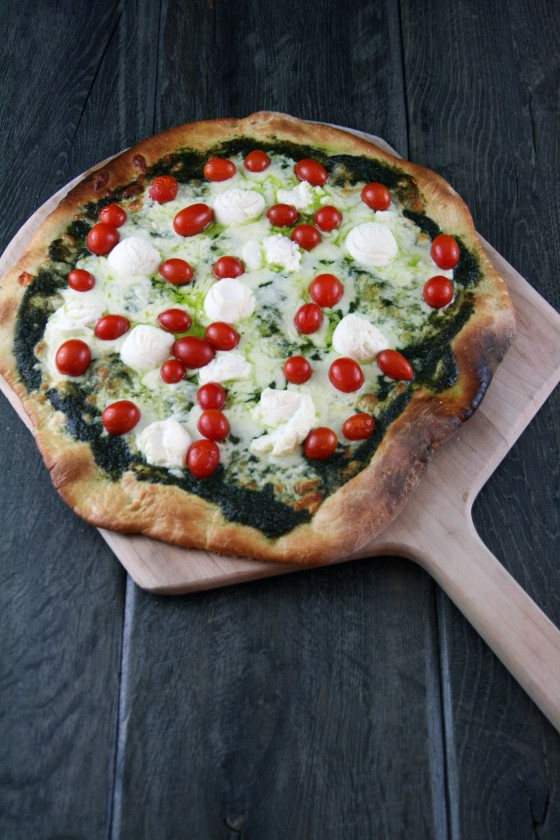 My Life as a Mrs. » Pesto, Ricotta, and Cherry Tomato Pizza
