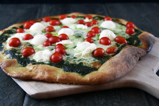 Pesto And Cherry Tomato Pizza Recipe — Dishmaps