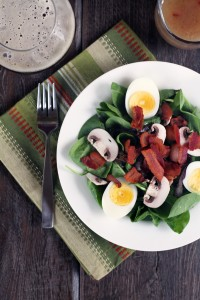 Spinach Salad with Hot Bacon Dressing {My Life as a Mrs}