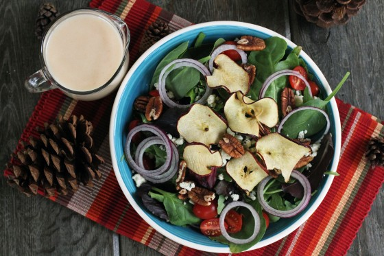Apple Chip, Gorgonzola, and Pecan Salad with Apple Vinaigrette {My Life as a Mrs}