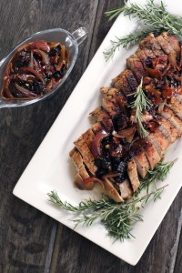 Maple Pork Tenderloin with Rosemary Cherry Pan Sauce | My Life as a Mrs