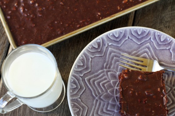 Chocolate Toffee Sheet Cake | My Life as a Mrs