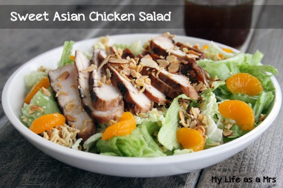 Sweet Asian Chicken Salad | My Life as a Mrs #recipe #salad