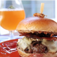 Crispy Shallot, Bacon & Brie Burger with Sweet Date Aioli | My Life as a Mrs