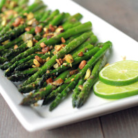 Roasted Asparagus with Garlic Lime and Pistachios via My Life as a Mrs