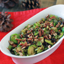 Simple Shaved Brussel Sprouts with Cherries, Pecans, and Balsamic Reduction